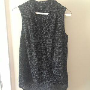 Tops - High low black polka dot tank